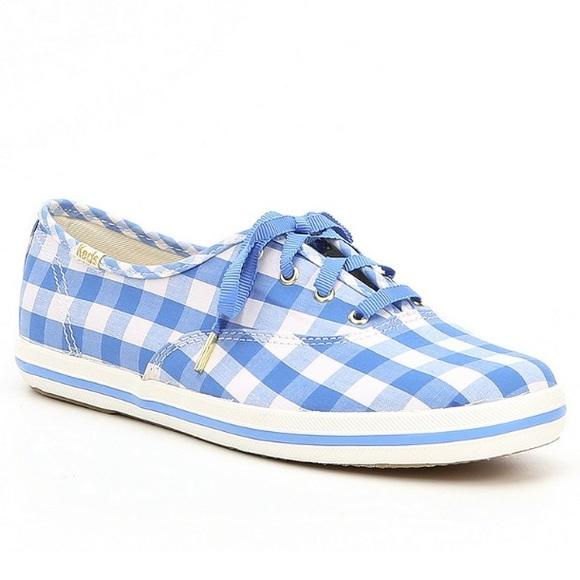 6ca8c4ec4b1 NWT Kate Spade Keds Periwinkle Gingham Sneakers